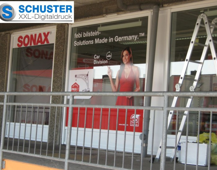 Schaufensterbeschriftung von febi bilstein bei der Fa. Sadi Nürnberg